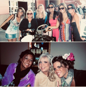 Collage of photos of Rachel and friends